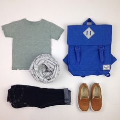 #ootd featuring the serenity s/s tee #mmdenim #bookhouforminimioche circle scarf #oldsoles leather slip ons and #herschelsupply backpack