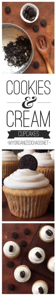 Two Words = Heaven Sent! This Cookies and Cream Cupcakes recipe is one of my favorite cupcake recipes, just that hint of oreo cookie...