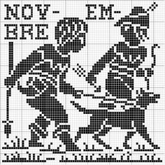Month 11 | Free chart for cross-stitch, filet crochet | Chart for pattern - Gráfico