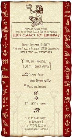 Egyptian-themed birthday invitation