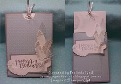 Slider Card - Four Feathers. Stampin' Up!
