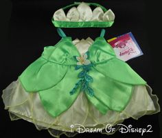 BUILD-A-BEAR DISNEY FROG PRINCESS 1st TIANA COSTUME DRESS & CROWN TEDDY CLOTHES