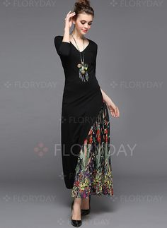 Dresses - $69.99 - Polyester Floral 3/4 Sleeves Maxi Elegant Dresses (1955123895)