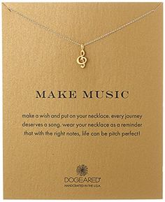"Dogeared ""Reminders"" Make Music-Treble Clef Gold Charm Ne..."