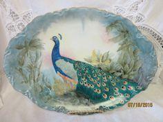 Peacock Large Platter Porcelain Ceramic by PorcelainChinaArt
