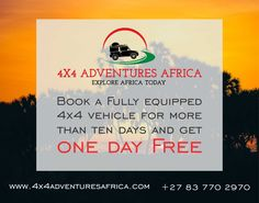 Book a vehicle for your Africa Adventure, book more than 10 days and you will receive one day absolutely FREE. Contact us on 83 770 2970 10 Days, Land Cruiser, Get One, South Africa, 4x4, Toyota, Adventure, Vehicles, Books