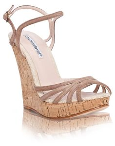'Strata' suede and cork wedge