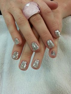 Gel manicure with sparkle silver