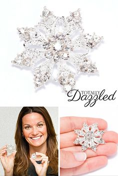 SNOWFLAKE bling for only $1.20! Use them to add sparkle to your special event. Visit us at totallydazzled.com to see our entire catalogue. We have gold, silver, pearl and rhinestone products in the form of buckles, brooches, napkin rings and more! Let us help you dazzle your guests.