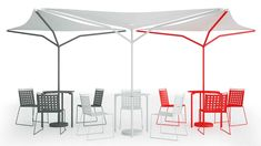 Durch ihre Form können die MIAMI.03-Sonnenschutzplanen wunderbar in Reihe aufgestellt werden. © Diemmebi Miami, Outdoor Furniture, Outdoor Decor, Gazebo, Outdoor Structures, Patio, Form, Competition, Design