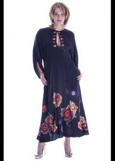 Rochie matase pictata manual Big Size Fashion, Plus Size Stores, Black Silk Dress, Plus Size Women, Plus Size Outfits, Cold Shoulder Dress, Hand Painted, Collection, Dresses