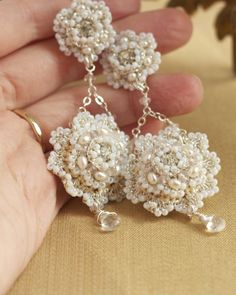 Clarinda Earrings | Blush Pink, Cream, and Silver Bridal Chandeliers - Portfolio | All Designs - Edera Jewelry: Romantic Handmade Lace Jewelry | Couture Wedding Designs
