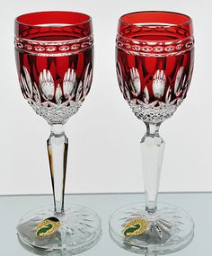 Waterford Ruby Red Cut to Clear Crystal Clarendon Cordials Glasses Goblets | eBay