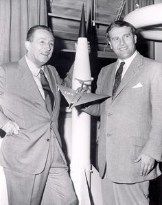 Walt Disney poses for a photo with his technical adviser Werner Von Braun.