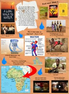 "Glogpedia internet poster ""A Long Walk to Water"" A Long Walk To Water Lessons, Lost Boys Of Sudan, 6th Grade Ela, Water Activities, Water Resources, World Water Day, Literature Circles, Book Projects, Read Aloud"