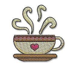 HOT COFFEE MUG  4x4 Filled  Machine Embroidery by LynniePinnie, $2.25