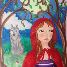 Watch out for the wolve, red riding hood!  Beautiful illustration by LumisaDesign Using Copicmarkers    #drawing #fairytale #redridinghood #original  #postcard #illustration #girl #wolve #copicmarker #art #Colorful #homedecor