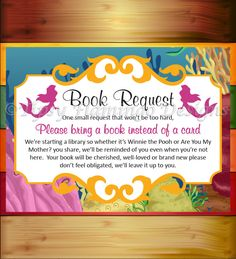Baby Shower Game, Book Request, Shower Game, Mermaid, Under The Sea, Ocean Theme, Baby Library, Printable, Instant Download - TFD375 by TipsyFlamingoDesigns on Etsy