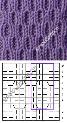 узор 441 | каталог вязаных спицами узоров