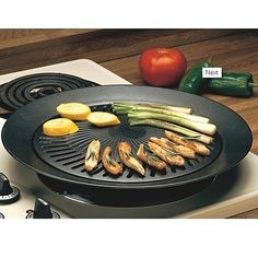 Eliminate smoke and splattering with this high-quality smokeless indoor 13-inch barbecue grill. It works on standard electric, gas or propane stoves and the water-filled outer ring works great to catch fat and juices during cooking. It also features an iron plate with a non-stick surface for easy clean up! It makes the perfect easy addition to your kitchen and also makes for a great gift (it comes packaged in a gift box ready to give).