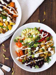 Spicy Butternut Squash Brown Rice Bowl with Cumin-Lime Crema