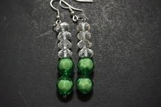 Swarovski Crystal & Emerald Beaded Dangle Earrings