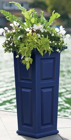 Create some curb-appeal magic with our tall and tapered Nantucket planter beside your door—each has all the good looks of a raised-panel wood planter, but will never crack, chip or peel.