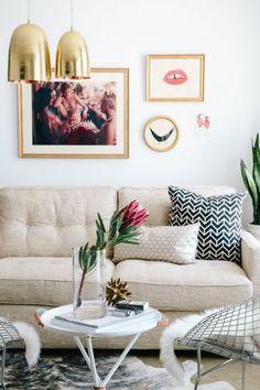 gold pendant lamp in a feminine living room