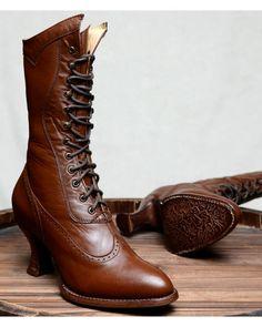 Oak Tree Farms Jasmine Cognac Boots - Medium Toe, Cognac, hi-res Women's Lace Up Boots, Low Heel Boots, Lace Up Heels, Heeled Boots, Shoe Boots, Cognac Boots, Brown Boots, Brown Leather Boots, Black Heels Low