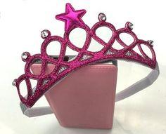 Baby Girl Sparkly Princess Crown Headbands. Elastic Headband.