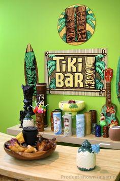 Vintage hawaiian surf shack tiki bar retro tropical for Tiki home decor