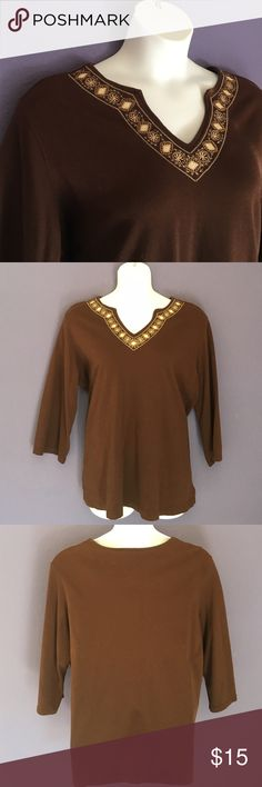 "🎉New Listing🎉 Classic Elements Brown Top Fall is here!  This top looks great for the season.   The embellished neckline adds drama to a plain shirt.  Pair with jeans for a casual look. Color is identical to photo #1.  Lots of sunlight in the room for the other pictures.  😊 Size: 24/26. Material:  100% Cotton. Measurements:  Length - 29""/Bust - 29"" Classic Elements Tops"