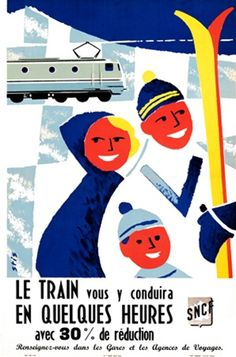 SNCF poster by Stis 1955 France - Beautiful Vintage Poster Reproduction. This vertical French travel poster features a smiling family with skis and a snow covered mountain and a train in the background. Giclee Advertising Print. Classic Posters