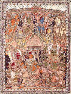 Yajna, Folk Art Kalamkari Painting on CottonArtist : K Murali Kalamkari Designs, Kalamkari Painting, Green Tara, Indian Folk Art, Online Greeting Cards, Indian Textiles, Hand Art, Religious Art, Fabric Painting