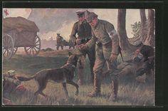 Künstler-AK Rotes Kreuz, Sanitätshund bringt seinem Hundeführer eine Soldatenmü