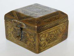 ANTIQUE ARABIC SYRIAN SCRIPT 3  BRASS TOBACCO CASKET BOX INLAID WOOD CAIROWARE