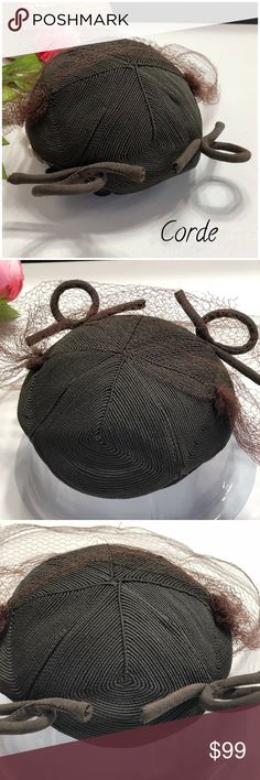 Vintage Corde Hat With Veil •You're sure to get noticed with this Vintage Corde Hat •Fun Piece for the Sophisticated Woman •Great Piece to Jazz Up Any Vintage Outfit •As with most all Vintage Pieces, there are imperfections •Sold As Is - No Refunds or Returns •Additional Photos or Measurements Available Upon Request •Five Star Seller Rating  •Posh Ambassador •Ships next business day excluding weekends & holidays •Thank You For Shopping my Closet Vintage…