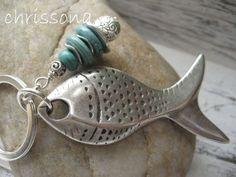 Schlüsselanhänger Fisch Türkis Howlith von chrissona auf DaWanda.com