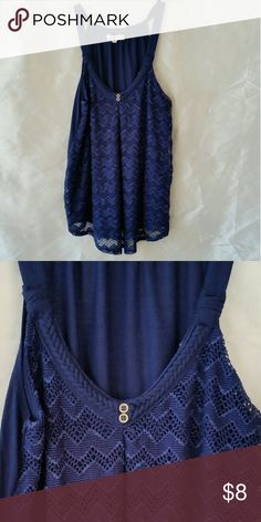 Rewind top in navy blue size s Rewind top in blue with lacy details and braided around the neck Rewind Tops Camisoles