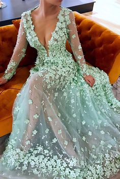 luxury mint v neck prom dresses with sleeves, modest long sleeves party dresses with flowers, unique a line sheer tulle evening gowns #promdress #partydress #mintdress