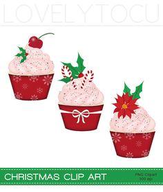 #Christmas #Cupcakes clip art #festive holly #digital by Lovelytocu
