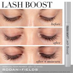 Rodan + Fields Lash Boost. This incredible lash serum give you fuller, darker and longer looking lashes that are 100% real! Click to the picture to learn more!