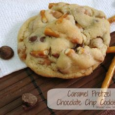 Caramel Pretzel Chocolate Chip Cookies - Use leftover rolos from Christmas, instead of the caramel bits and choc chips.