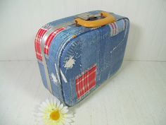 Vintage Shabby Chic Denim-Look Vinyl Child Size Suitcase with Working Key - Retro Overnight Small Carry All - BoHo Wedding Card Basket / Box $26.00 by DivineOrders