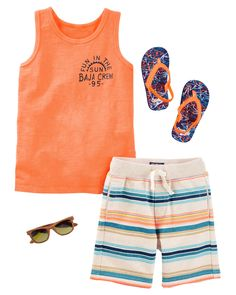 For surf style and beach adventures, a graphic tank and French terry shorts are just right. Add flip flops + cool shades and he's ready for fun in the sun!