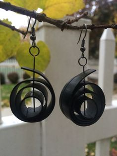 These earrings are comprised of recycled bicycle tire tubes, designed into spirals. The materials are thoroughly cleaned before production. These earrings fit any occasion and are a great way to show your passion for cycling - or recycling! All items in our shop are made by hand with love, many from recycled materials.