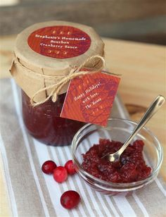 Bourbon Cranberry Sauce for hostess, thanksgiving, thank you, holiday gift. Homemade and packaged great.