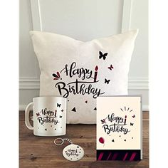 ALDIVO Happy Birthday Printed Cushion Cover with Filler with Coffee Mug, Greeting Card and Key Ring Best Gifts For Boys, Birthday Gifts For Boys, Diy Gifts For Boyfriend, 12th Birthday, Birthday Gifts For Boyfriend, Baby Birthday, Printed Cushions, Mickey And Friends, Easy Gifts