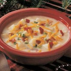 "Baked Potato Soup Recipe from Taste of Home -- It tastes like ""restaurant"" soup but is lower in fat. -Linda Mumm, Davenport, Iowa"