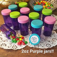 12 PURPLE JARS 2oz Party Candy Pill Bottles Doc McStuffins RX  #4314 DecoJars  * #Decojars #BirthdayChild